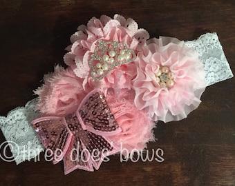Pink Shabby Chic Headband - Baby Couture Headband - Light Pink Fabric Flower Headband - Lace Headband - Infant Headband - Vintage Headband