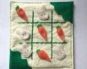 Tic Tac Toe Quiet Game, Spring Travel Game, Bunnies vs Carrots