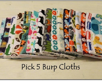Baby Burp Cloth Set- Pick 5