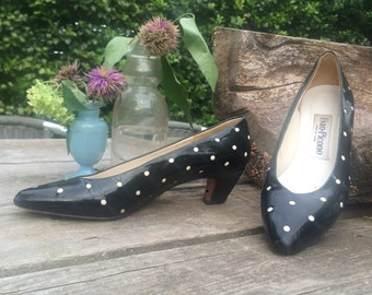 Vintage 80s Evan-Picone Patent Leather Low Heel Pumps / Black and White Polka Dots / Made in Spain / Women's Size 7.5 M