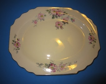 Vintage Serving Platter, Lido W. S. George Canarytone Serving Platter 163A, Blossoms, Shabby Chic, Country