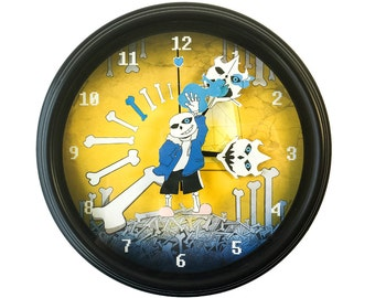 Undertale - Sans - 3D Wall Clock - Undertale Clock - Gamer Decor - Gamer Gift - Geek Gift - Video Game Decor - Video Game Wall Clock