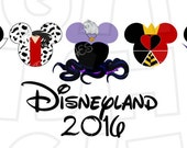 Villains in Mickey Mouse heads ears Disneyland 2016 Digital Iron on transfer clip art INSTANT DOWNLOAD Image DIY for Shirt