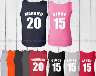 MARRIED SINCE 2015  - Matching Couple Tank Top - His and Her Tank Tops - Love Tank Tops