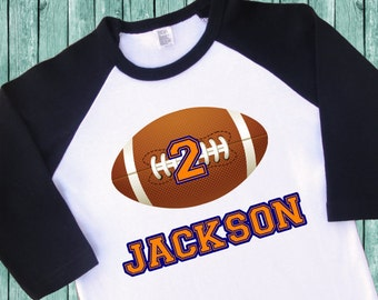 Football Birthday Jersey. Football Birthday Shirt. Personalized Raglan with Name & Number. 1st 2nd 3rd 4th 5th 6th 7th 8th Birthday. (2010)