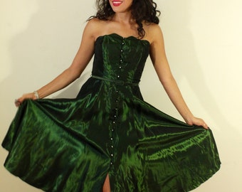 1950s Forest Green Party Dress with Rhinestone Buttons
