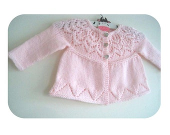 Grace Cardi - Knitting Pattern - Baby girl to age 6 cardigan - Instant Download PDF