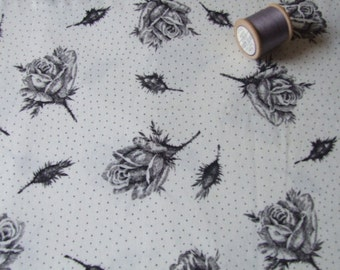 vintage length of black and white rose and dotty cotton  fabric