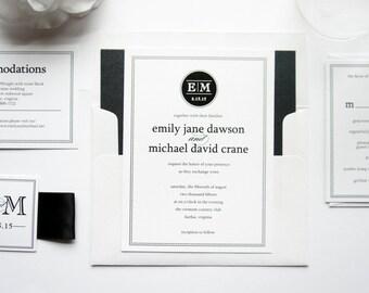 Monogram Wedding Invitations - Modern Wedding Invitations, Monogram Wedding Invitation Set, Black Wedding Invites - SAMPLE SET