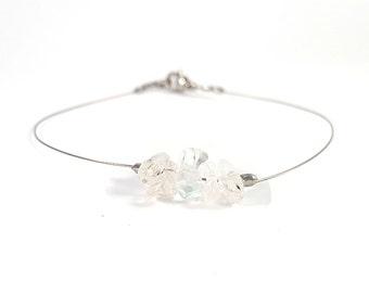 Gemstone bracelet, clear crystal jewelry, silver bracelet minimalist, rock crystal bracelet, quartz gemstone jewelry, quartz bracelet shikky