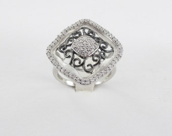 Sterling Silver Cubic Zirconia Ring Size 7 1/4
