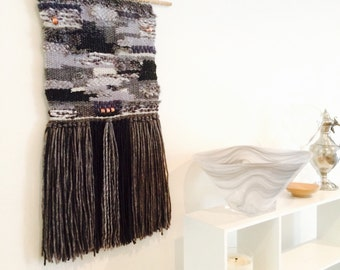 Weaving wall hanging- in grey tones with copper accents. Woven wall hanging.