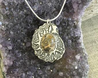 Nautilus W/Ocean Jasper Silver Pendant