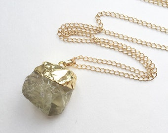 Long Raw Cut Natural Citrine Chuck Necklace // Citrine Nugget Gemstone Necklace