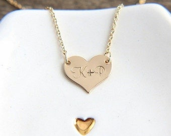 Heart Necklace, Gold Heart Necklace, Initial Heart Necklace, Personalized Heart Necklace, Hand stamped Heart Necklace, Personalized Jewelry