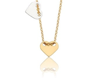 Two Hearts Necklace, Heart Necklace, Gold Silver Heart Necklace, Love necklace, Heart Jewelry, Heart Necklace, Dainty necklace, Minimalist