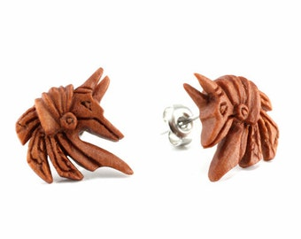 "Hand Carved - ""Anubis"" - Wood Stud Earring - Ancient Egypt"