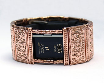 FitBit Charge 2 Band Cover Bracelet: Rose Gold Lallybroch with Window