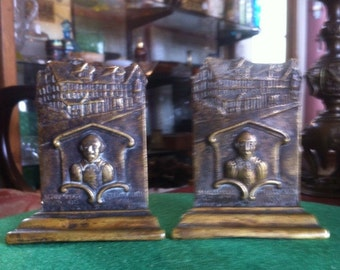 Rare Pair of Brass Bookends Depicting William Shakespeare and His Home at Stratford on Avon