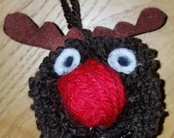 Reindeer bauble, Reindeer tree decoration, Christmas tree decoration, Reindeer decoration, Rudolf bauble, reindeer pompom, Rudolf pompom