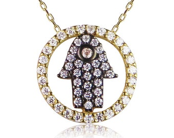 Hamsa hand cz necklace for protection, Real .925 sterling silver, Safe to get wet, Exclusive design