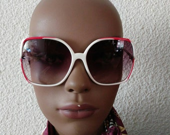 Cool red white 80s sunglasses bugeye oversized.