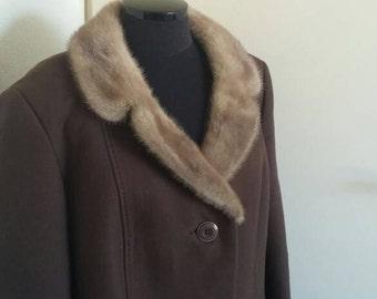 Vintage wool 50s coat Kärner mink fur collar plussize