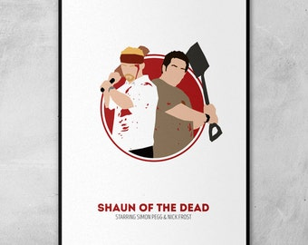 Shaun of the Dead | Simon Pegg | Nick Frost | Circle Art | Minimal Artwork Poster