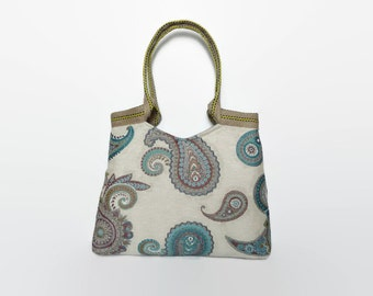 Tote bag Paisley design, trendy shoulder bag, large handbag interior fabric Paisley design, tapestry bag, fashionable handbag.