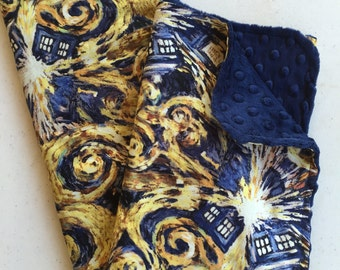 Doctor Who Baby Blanket, Minky Blanket, Exploding Tardis, Starry Night, Navy Blue Minky Back