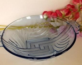 Art Deco Pressed Glass Bowl in Light Blue