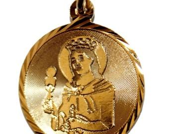 Santa Barbara Pendant with 18 inch Figaro Chain 18k Gold Plated Pendant - Santa Barbara