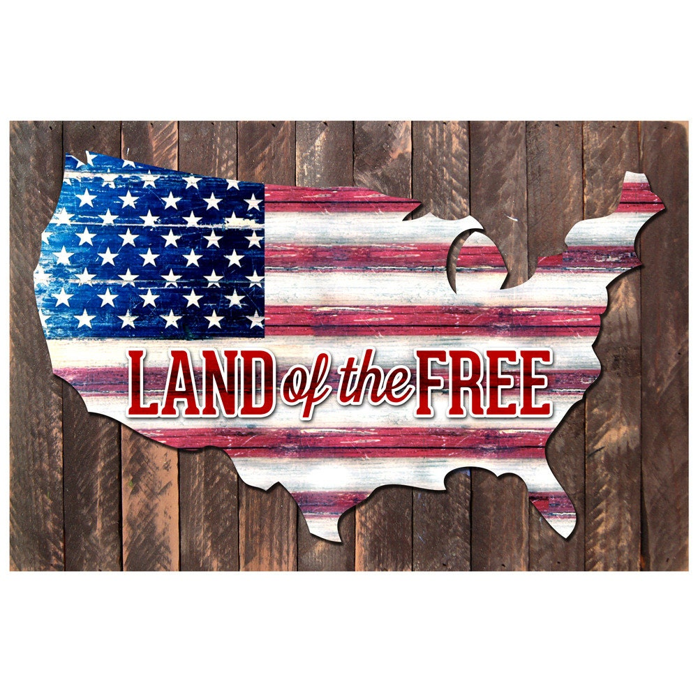 Vintage us map land of the free quote rustic board for How to get free land in usa