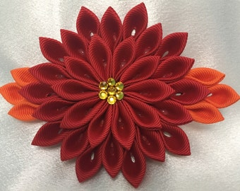 Red and Orange Kanzashi Style French Barrette