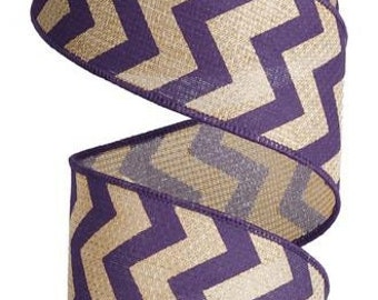 "2.5"" Purple Chevron Faux Burlap Wired Ribbon, Purple chevron ribbon (10 yards) - RG102523"