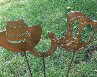 Metal Hat, Boots & Horseshoe Garden Stakes, Western