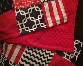 Patchwork Baby Blanket, navy blue, red, white, nautical, Minky back, made to order, chevron, polka dots and stripes