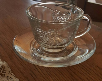 Cup and saucer~glass embossed rose