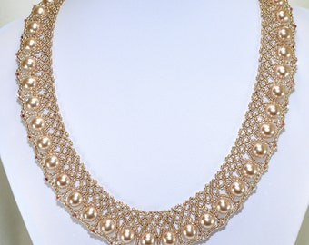 Pearl and Swarovski crystal netted/lace necklace: Queen Elizabeth - PDF Beading Pattern