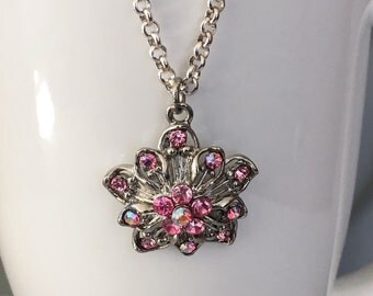 Pink necklace, chain necklace, pendant necklace, flower necklace, beaded necklace, pink flower necklace, pink rhinestone necklace