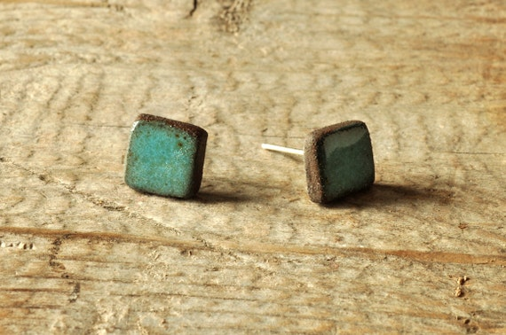 MINI glossy turquoise square stoneware stud earrings