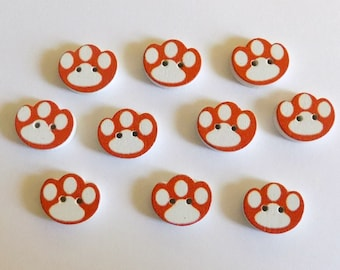 10 Wooden Paw Buttons - #SB-00177