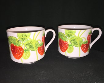 Strawberry Coffee Mugs by Fitz and Floyd; Strawberry Coffee Cups; FF Strawberry Ceramic Mugs