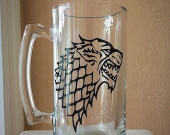 Game Of Thrones Inspired, House of Stark Large Glass Mug!