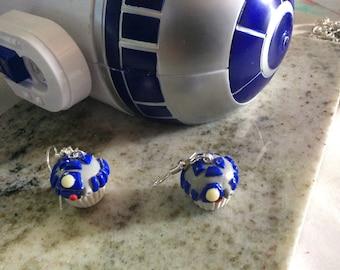 R2D2 earrings star wars earrings Geeky robot movie earrings inspired  cupcake earrings  dangle earrings