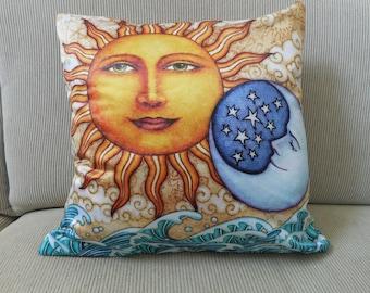 "Sun Moon Accent Pillow Cover, Ocean Sunrise Decorative Pillow, Celestial Art, 18""x18, Dan Morris Sun Moon Art, Home Decor Pillow Cover"
