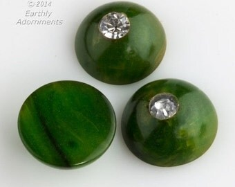 10% OFF Vintage marbled green and yellow Bakelite style cabochons with rhinestone. 9mm. Package of 4  (b5-928)