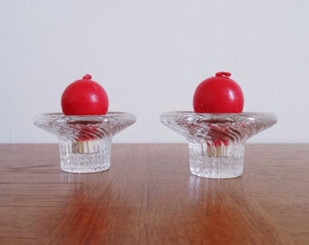 Pair of iittala Poppa Candleholders with Round Candles - Valto Kokko Design - Made in Finland - 1 Pair Available