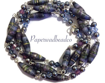 Paper Bead Necklace, Long Paperbead Necklace, Flapper Style Necklace, Country Blue and Lavender Paper Bead Necklace, Flapper Jewelry