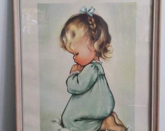 vintage 1944 print A Childs Prayer framed in glass little girls baby's room wall art